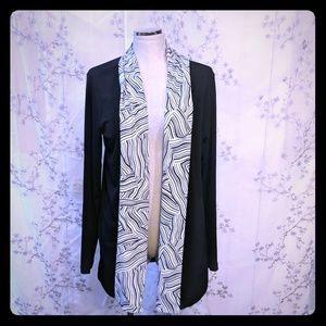 Long sleeve open face drape cardigan black XL